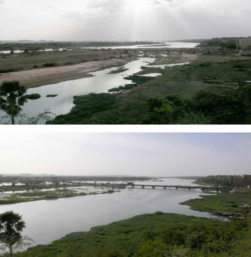 Flußlandschaft vor und nach der Regenzeit
